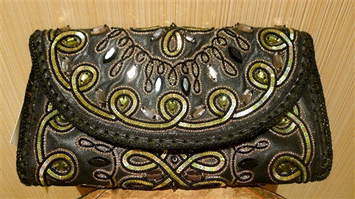 Buba Embellished Wallet/Clutch in Black and Gold