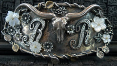 Corpus Christi Sterling Silver Longhorn and Crystal Embellished Buckle