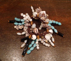 Jane Tran Beaded Hair Tie with Turquoise and Shell