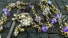 Candice Marks Tribal Necklace with Amethyst and Crystals