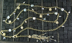 Candice Marks Crystal and Pearl Charm Gold Filled Link Chain Necklace or Belt with Tassle