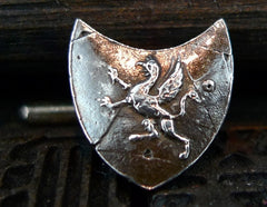 Pyrrha Sterling Silver Shield Cufflinks with Dragon