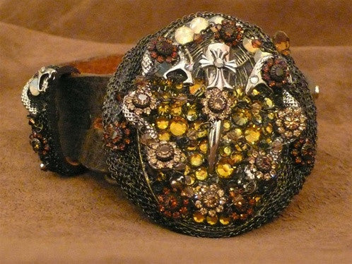 Ivy Belt with Pink and Yellow Crystal Flower Designs on Buckle