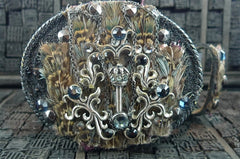 Ivy Belt Embellished with Sterling Silver Crowns and Feathers