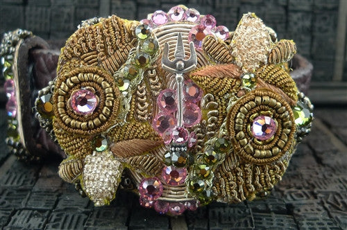 Ivy Belt Encrusted with Pink and Green Swarovski Crystals with Studded Leather Belt