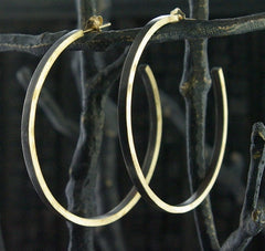 Laura Goulas Large Hoop Earrings in 14K Yellow Gold and Oxidized Silver