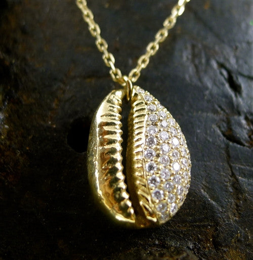 Danielle Pittman 14K Yellow Gold and Diamond Seashell Necklace