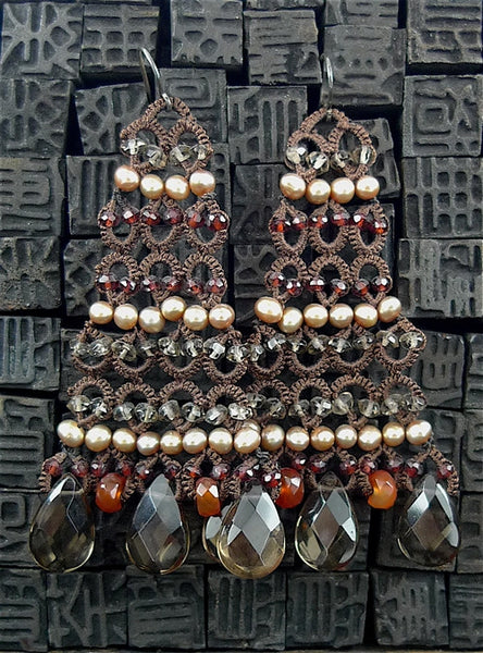 Danielle Jossie Welmond Woven Brown Chandelier Earrings with Pearls, Smoky Topaz, and Carnelian