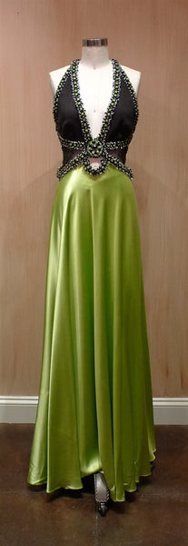 Jenny Packham Beaded Lime Satin Dress with Jeweled Neckline and Straps