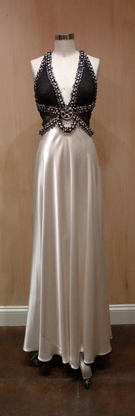 Jenny Packham Beaded White Satin Dress with Beaded Neckline and Straps