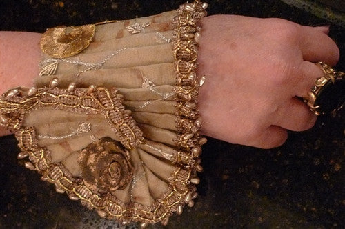 Dimitri Dassios Pleated Embroidered Gold Cuffs with Pearls