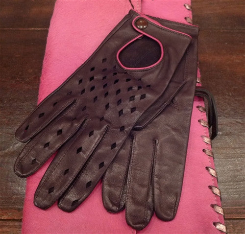 Shaneen Huxham Leather Driving Gloves with Hot Pink Trim