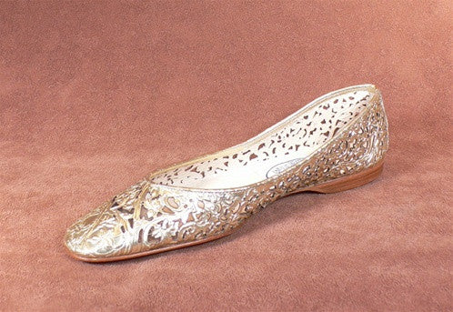 Emma Hope Laser Cut Metallic Ballet Flats