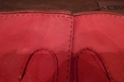 Shaneen Huxham Leather Driving Gloves in Red with Brown Trim