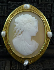 Estate Shell Cameo with Seed Pearl Brooch in 18K Yellow Gold