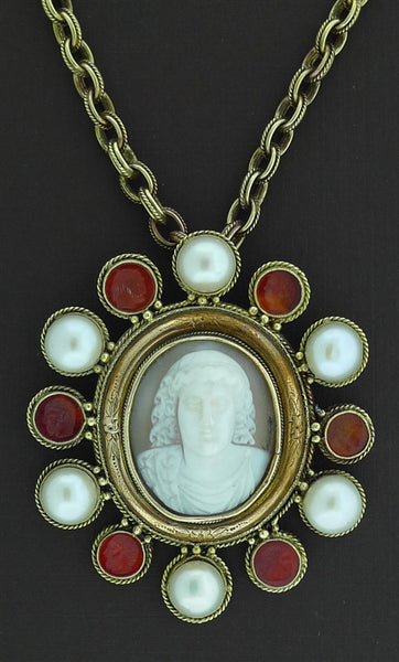 Noble Venetian Cameo Medallion Necklace with Pearls & Carnelian in 18K Yellow Gold