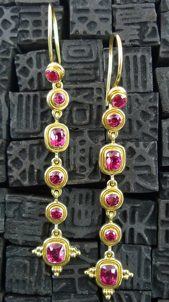 Tarak Red Spinel Drop Earrings in  22K Yellow Gold