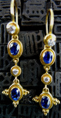 Tarak 22K Yellow Gold, Blue Sapphire and Diamond Earrings