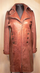 NV Long Leather Coat with Chain Detail