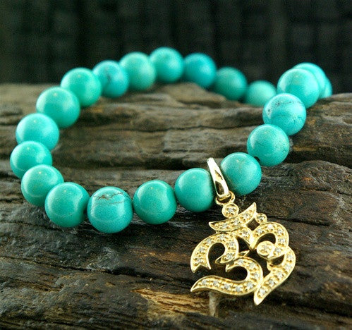 Sydney Evan Om Symbol Diamond Stretch Bracelet on Turquoise Beads in 14K Gold