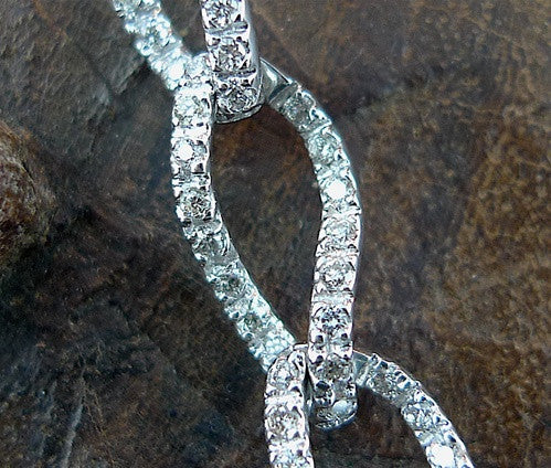 Estate Diamond Link Bracelet  in 18K White Gold