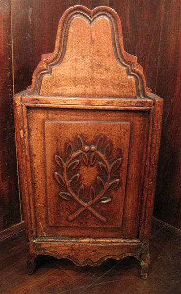 Antique French Provencial  Walnut Salt Box