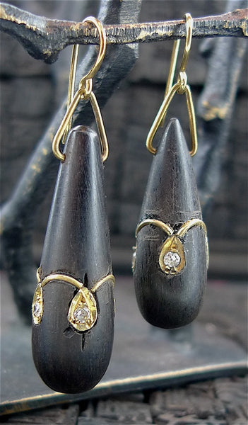 Isharya Wood Tear Drop Earrings with 18K Yellow Gold Vermeil Detail and CZ