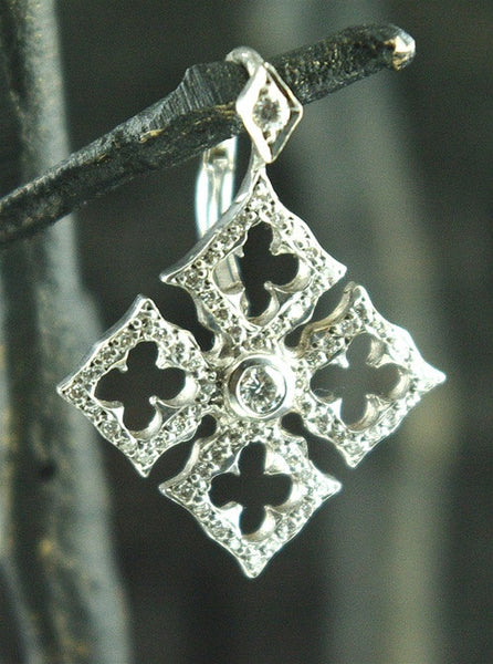 Loree Rodkin Tiny Gothic Open Clover Cross Earrings in 18K White Gold and Diamonds