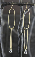 Rebecca Lankford 14k Yellow Gold Oblong Links with White Sapphire Earrings