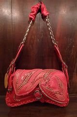 Bracher Emden Red Leather With Swarovski Crystal Embellished Butterfly Purse