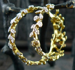 Churchill Private Label Laurel Branch and Diamond Hoop Earrings in 18K Yellow Gold