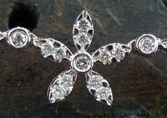 Diamond Flower Link Necklace in 18K White Gold