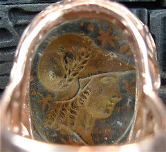 Antique Venetian Glass Intaglio Ring of the Goddess Athena