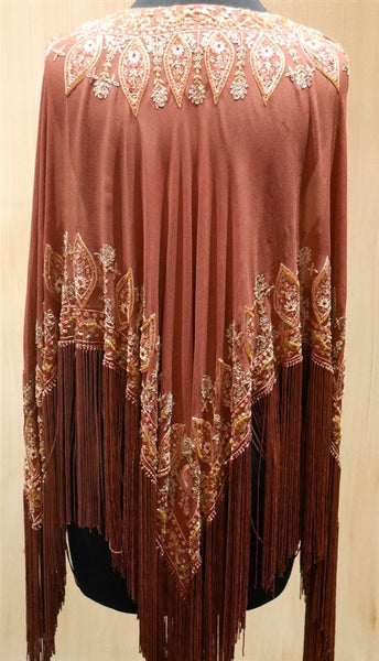 Tanja Pignatelli Silk Fringe Beaded Poncho Tunic