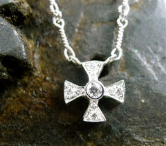 Jude Frances 18K White Gold and Diamond Maltese Cross Necklace