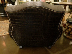 Bobo Intriguing Objects Croc Embossed Leather Club Chair- Black