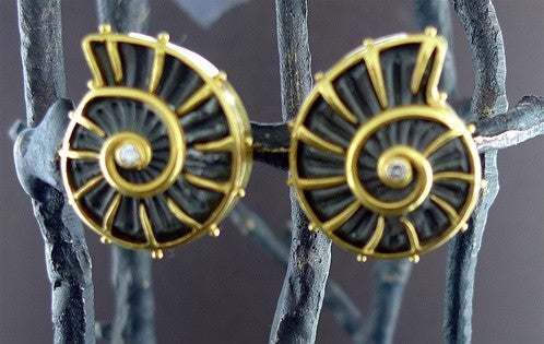 Carloyn Tyler Ammonite Clip Earrings in 22K Yellow Gold with Diamond Accents