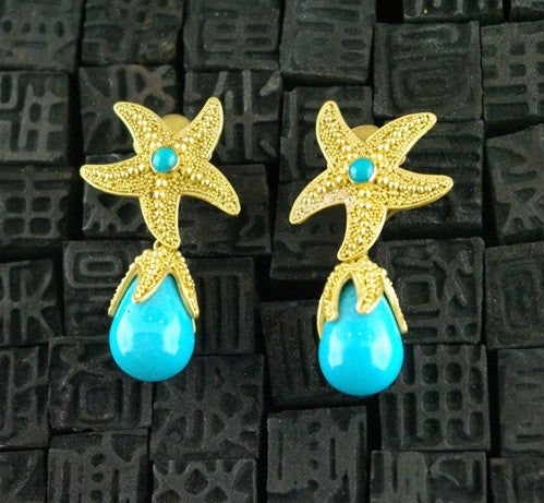 Carolyn Tyler 22K Yellow Gold and Turquoise Earrings