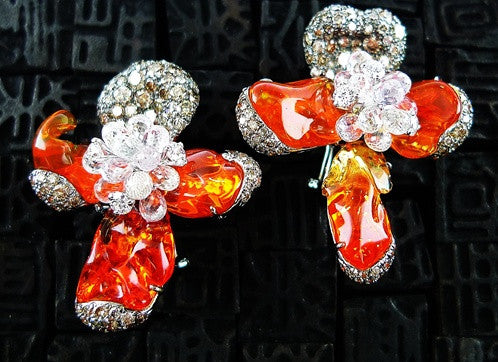 Arunashi Fire Opal, Cognac and White Diamond and White Topaz Orchid Earrings