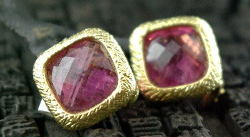 Dominique Cohen 18K Yellow Gold and Pink Tourmaline Earrings