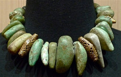 "Cipango of Paris Green Rock Tribal ""Flintstone"" Necklace/Collar with Brass Beads with 24K Gold Vermeil"