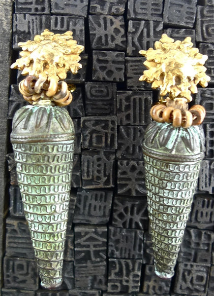 Cipango Parisian One-of-a-Kind Amphora Shaped Drop Earrings with Gold Clad Sunburst Clips