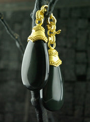 Carolyn Tyler 22K Yellow Gold and Obsidian Drop Pendants