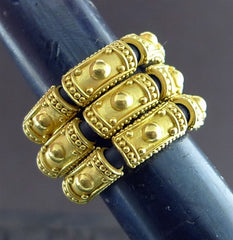 Carloyn Tyler 22 Karat Gold and Black Rubber Etruscan Ring