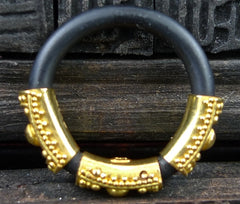 Carolyn Tyler Etruscan Black Rubber Band Rings with 22K Yellow Gold Stations