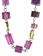 Dominique Cohen 18K Yellow Gold and Pink Tourmaline Bamboo Necklace