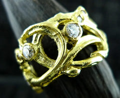 Dominique Cohen Floral Diamond Band Ring in 18K Yellow Gold and Diamonds