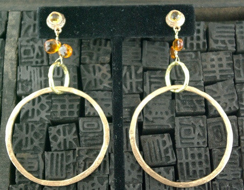 Dominique Cohen 18K Yellow Gold and Citrine Hoops