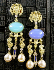 Yves Kamioner 18K Yellow Gold, Diamond, Sapphire, and Pearl Earrings