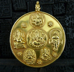 Indian Motifs Embossed Medallion Pendant in 18K Yellow Gold